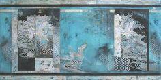 """In Summer rain  the leg of the crane  becomes shorter""  Matsuo Basho   (1644 ~1694)  Mixed Media and Kimono on Canvas  76cm x 152cm  2014  Nerina Lascelles  Tumblr"