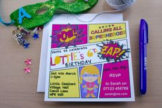 Personalised printed Supergirl Party Invites. Super Girl Superhero party invitations. Ready to Send. Includes matching envelopes.