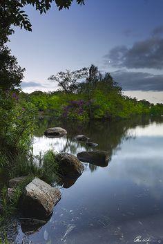 Moon Over Bolam Lake, Northumberland, England
