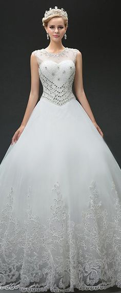 Marvelous Tulle Jewel Neckline Ball Gown Wedding Dresses With Sequin Lace Appliques