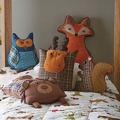 Woodland Pillows. I swear I'm a kid in a grown-up's body.