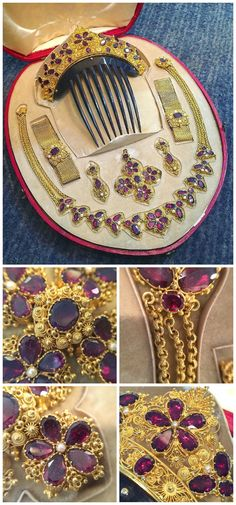 Exceptional cannetille gold and garnet parure, with matched bracelets, earrings, a hair comb, and a necklace with optional enhancer. At Keyamour.