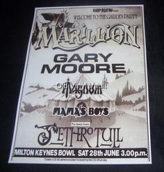 Marillion concert poster Milton Keynes Bowl 1986 new size repro Concert Flyer, Concert Tickets, Concert Posters, Gig Poster, Rock Posters, Band Posters, Music Posters, Classic Album Covers, Queen Love