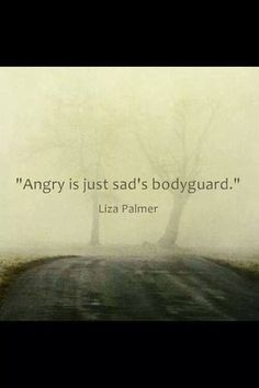 "I'd say ...""Angry is just sad's bodyguard."""