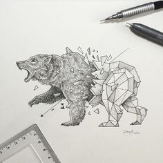 WEBSTA @ art.cave - Sick bear drawing!Art by @kerbyrosanes #Bear #Drawing…