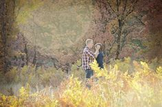www.frostedproductions.com | #utah #photographer #engagement #photography #sunflare #fall #leaves #yellow #field #cute #couple
