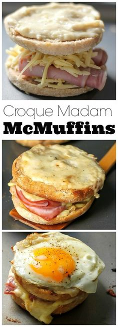 OMG these are amazing! Croque Madame McMuffins - Gooey cheese, brown butter sauce, black forrest ham, and a fried egg!