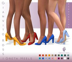 """renorasims: """" Hi Everyone! Since i'm quite bussy these days I have made something small but very useful. I love GianvitoRossi Greta Heels so much but the colors were limited and the texture more alpha then maxis match. I made a new texture. Sims 4 Cc Packs, Sims 4 Mm Cc, Sims Four, Sims 4 Mods Clothes, Sims 4 Clothing, Maxis, Sims Stories, Sims 4 Collections, Sims 4 Cc Shoes"""