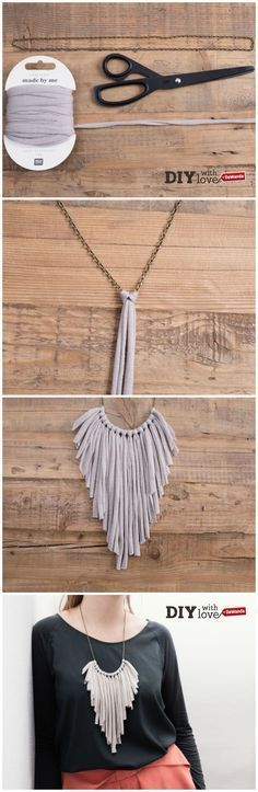 Realizza una collana #faidate usando catenina e #fettuccia e ispirandoti al must del momento: le frange!