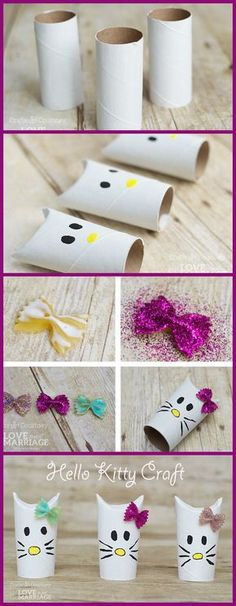 Trop mignons ces petit Hello Kitty réalisés à partir de rouleaux de papier toilette.