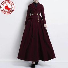 Maxi coat wine red