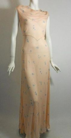 Floral Silk Nightgown with Twist X Back circa 1930s