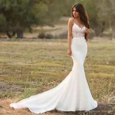 Gorgeous Satin Mermaid Wedding Dress with Lace Spaghetti Strap Backless Illusion. - Gorgeous Satin Mermaid Wedding Dress with Lace Spaghetti Strap Backless Illusion Bridal Gown Modest Simple Reception Dress for Bride – Wedding decorations – Source by - Boho Wedding Dress With Sleeves, Satin Mermaid Wedding Dress, Top Wedding Dresses, Wedding Dress Trends, Bridal Dresses, Gown Wedding, Dream Wedding, Dress Lace, Wedding White