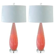 1stdibs.com   Pair of Vintage Lamps in Strawberry Opaline by Alfredo Barbini