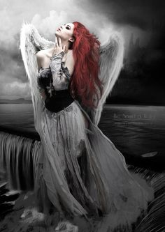 Fantasy art by Babette van den Berg #ilustracion #Photoshop | Love angel wings? Follow http://www.pinterest.com/thevioletvixen/the-wings-of-angels/ for more!