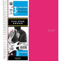 Five Star Notebook With 8 Pockets 8 12 x 11 5 Subjects College Ruled 200 Sheets Assorted Colors No Color Choice by Office Depot