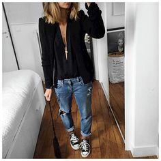 Tenue en entier! Bonne soirée! • Jacket #iro (on @labrandboutique) • Body shirt #asapparis (old) • Jean #fivejeans (on @five_jeans) • Bag #mansurgavriel ...