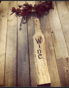 Handmade wooden wine sign Christmas gift solid by SawmillCreations, $29.00