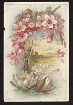 AntiqueVictorian Embossed Paper Card German Print CastleStreamWater Lillies