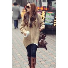 Online shop korean fashion autumn and winter color irregular hem loose hooded sweater dress wool coat clothes pullover womens Casual Fall Outfits, Fall Winter Outfits, Autumn Winter Fashion, Cute Outfits, Long Sweaters, Sweaters For Women, Knit Sweaters, Baby Sweaters, Moda Chic