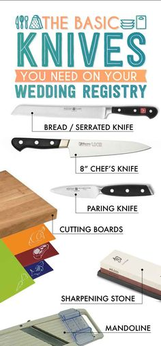 Basic Knives.  The Essential Wedding Registry Checklist For Your Kitchen