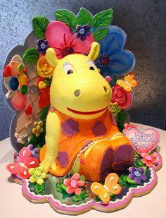 Backyardigan Cake Pretty Cakes, Cute Cakes, Beautiful Cakes, Amazing Cakes, Bolo Backyardigans, Rosebud Cakes, Creative Cakes, Cake Art, Rose Buds