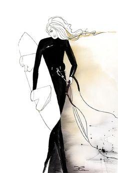 Sandstorm. Kitesurf illustration in watercolor and ink by Cora Illustration. @coraillustration. Surf art, Surfing, Kite, Beach art, watersports, wetsuit, fashion illustration, black, woman, kiteboarding, kitesurfing painting, Surf print