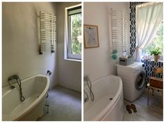 Amazing bathroom makeover. Patterns on the wall and beautiful furniture. Check out for more pictures before/after. http://majsterki.pl/blog/remont-malej-lazienki-metamorfoza