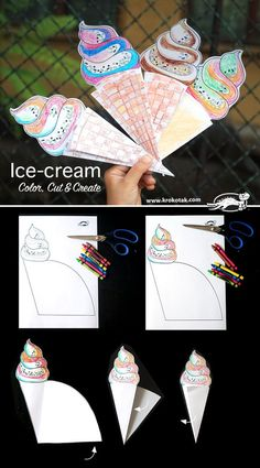 Color, Cut & Create Ice-cream craft for kids Summer Crafts, Summer Art, Crafts For Kids, Arts And Crafts, Summer Ideas, Party Summer, Ice Cream Crafts, Ice Cream Art, Tarjetas Diy