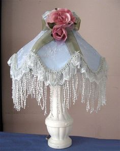 Pair of shabby chic Victorian style lamp shades / baby blue w white lace overlay and fringe