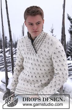 """Knitted DROPS men's jumper with pattern and shawl collar in """"Nepal"""". Size: S - XXXL. ~ DROPS Design"""