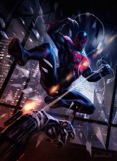 #Spiderman #2099 #Fan #Art. (Spider Man 2099) By: Dleoblack. (THE * 5 * STÅR * ÅWARD * OF: * AW YEAH, IT'S MAJOR ÅWESOMENESS!!!™)[THANK Ü 4 PINNING<·><]<©>ÅÅÅ+(OB4E)