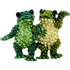 I gotta find this little pin. Soooo cute. Multi Green Couple Frog Crystal Pin Brooch - Fantasyard Costume Jewelry & Accessories.