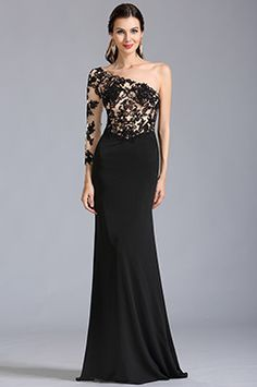 Stylish One Sleeve Black Lace Formal Gown Prom Dress (00154200) - USD 199.99