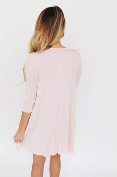 Solid Side Pocket Dress- Blush - Dottie Couture Boutique