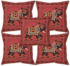 """Indian Elephant Embroidered Cushion Covers Vintage Cotton Cases Pillow Cover 16"""" #LalHaveli"""
