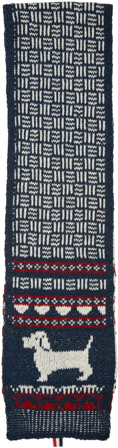 Thom Browne - Navy Knit Hector Scarf