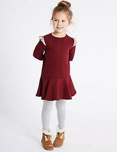 Cotton Rich Frill Shoulder Sweat Dress (3 Months - 6 Years), RED MIX
