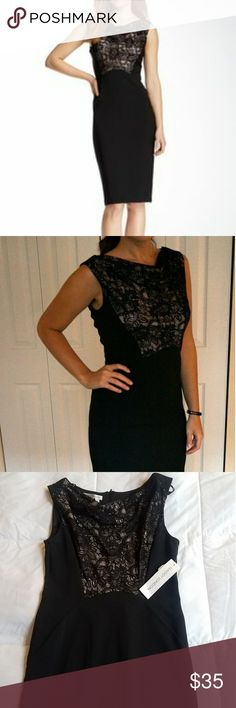 """Maggy London Black Sheath Dress with Lace Neckline Never worn, still has tag.  Cute cocktail dress by Maggy London.  96% polyester, 4% spandex. Machine washable. I'm 5'-4"""", 130 pounds and it hits me mid-calf.  It's slightly large for a size 2. Maggy London Dresses Midi"""