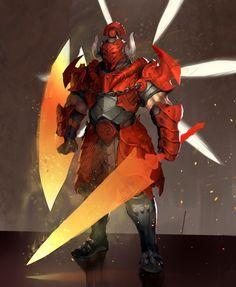 "Red Knight ""Brute"", Julian Futanto on ArtStation at https://www.artstation.com/artwork/red-knight-brute"