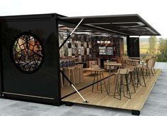 Pop-up container restaurant. Visit website to view more shipping container build… Pop-up container restaurant. Visit website to view more shipping container build examples. Coffee Shop Design, Cafe Design, Store Design, Interior Design, Food Design, Design Ideas, Container Architecture, Sustainable Architecture, Contemporary Architecture