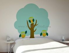 Three Owl And Tree Wall Decals