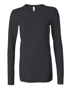 """Ladies' Long Sleeve Thermal T-Shirt. 4.5 oz., pre-shrunk 60/40 Cotton/Polyester, 40 singles. Reverse coverstitched neck, shoulder, armholes, sleeves and bottom hem. Side seamed for a custom contoured fit. 3/4"""" neck binding, 4"""" rib cuffs."""