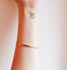 Small, Tiny taurus symbol tattoo on wrist Taurus Symbol Tattoo, Taurus Symbols, Taurus Tattoos, Mini Tattoos, Dream Tattoos, Ankle Tattoos For Women, Tattoos For Women Small, Small Tattoos, Piercing Cartilage