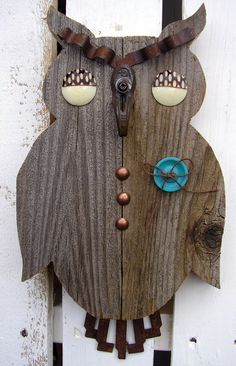 Rustic Retro Owl Wall Hanging, Vintage Button Eyes Turquoise Button, Sewing Room, Sew. Wall Hanging, Owl Art, Wall Art by RusticSpoonful on Etsy