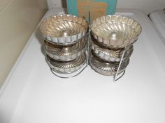 INDIVIDUAL ALUMINUM VINTAGE METAL MOLDS JELLO BUNDT CAKE SET WITH RACK USA