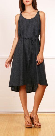 A simple denim dress with a short to long hemline