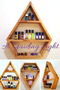 Essential Oil Display Shelves NOW AVAILABLE! Love the Diamond shape and how these turned out <3