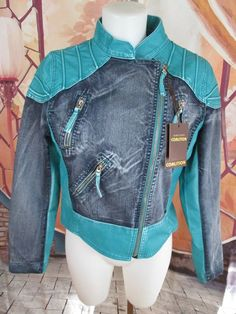 Womens Faux Leather Blue Jean Denim Turquoise Motorcycle Jacket Size M #DowntonCoalition #Motorcycle