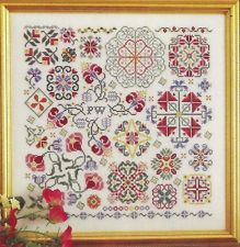 SWIRLING FLOWERS--Sampler--Rosewood Manor--Counted Cross Stitch Pattern